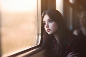 Blue Eyes Girl Looking Outside Window 5k Wallpaper
