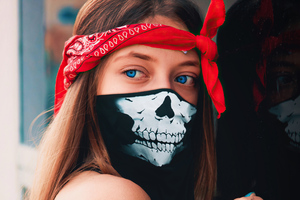 Blue Eyes Girl Skull Mask 4k Wallpaper