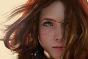 Blue Eyes Redhead Women Artwork