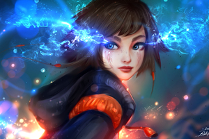 Blue Eyes Shades Girl Artwork Wallpaper