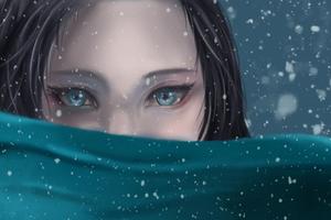 Blue Eyes Snowfall Anime Girl