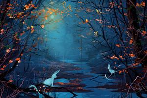 Blue Forest Bunnies Wallpaper