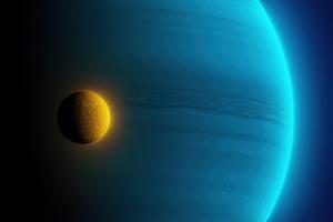 Blue Gas Giant Planet Little Moon 4k Wallpaper