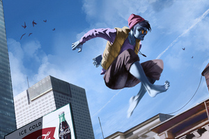 Blue Guy Jumping Wallpaper