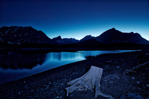 Blue Hour Kananaskis Lake Stars 8k Wallpaper
