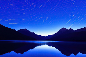 Blue Lake Star Trails 4k Wallpaper