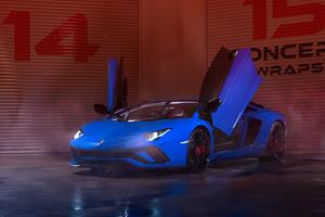 Blue Lamborghini Aventador 4k 2019