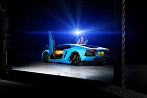 Blue Lamborghini Aventador 4k