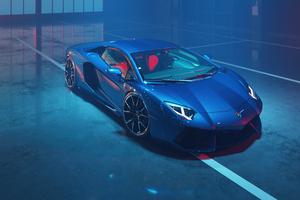 Blue Lamborghini Aventador Dione Forged Cgi 4k