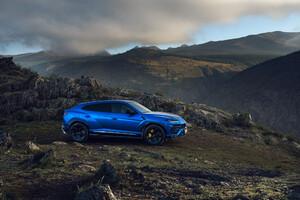 Blue Lamborghini Urus SUV
