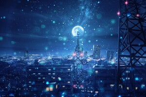 Blue Night Big Moon Anime Scenery 4k Wallpaper