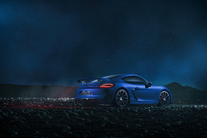 Blue Porsche Fog Play Wallpaper