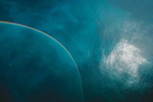 Blue Sea Rainbow Reflection 5k Wallpaper