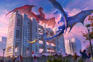 Blue Vs Red Dragon 4k