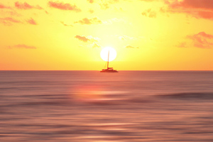 Boat Body Of Water Sunset 4k Wallpaper