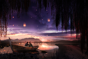 Boat Couple Dreamy Painting Lake Lantern