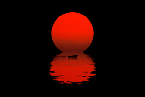 Boat Dark Sunset 5k Wallpaper