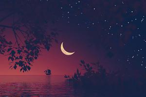 Boat Moon Minimal Landscape 5k Wallpaper