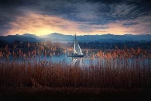 Boat Nature Lake Wallpaper