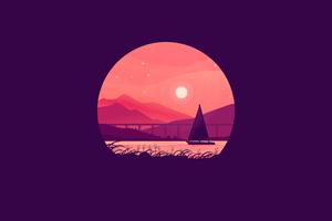 Boat Under The Moon Minimal 5k Wallpaper