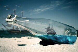 Bottle Beach Macrography Wallpaper