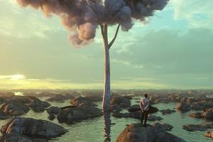 Boy Alone Clouds On Tree 4k Wallpaper
