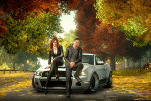 Boy And Girl Sitting Front Of Ford Shelby GT500 Super Snake