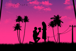 Boy Kneeling Down Giving Flowers To Girl Wallpaper