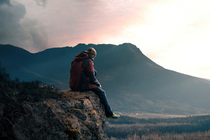 Boy Sitting Alone On High Mountain Rock 5k Wallpaper