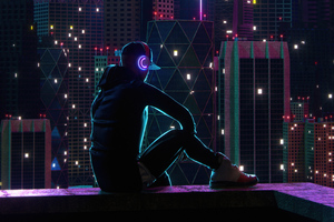 Boy Sitting On Rooftop Neon Lights 5k