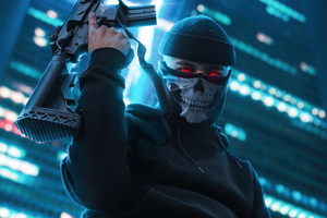 Boy With Skull Mask And Ak47 Wallpaper