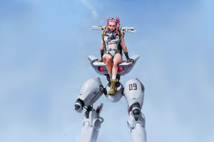 Braided Pink Hair Cyberpunk Robot Girl 4k