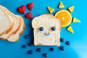 Bread Blueberries Orange Strawberries Food Art Wallpaper