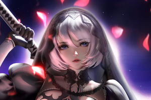 Bride 2B Nier Automata Artwork Wallpaper