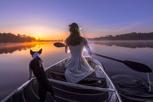 Bride With Dog On Boat Wallpaper