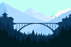 Bridge In Forest Minimalist 4k