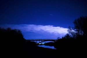 Bridge Night Clouds Starry Sky 5k