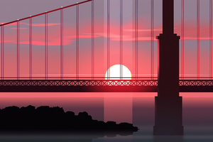 Bridge Sunset Minimal Art 4k