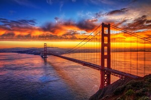 Bridge Sunset Sky Wallpaper