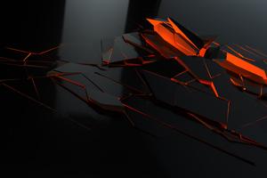 Broken Glass Pieces Red 4k