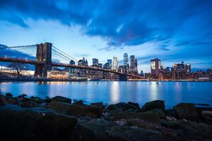 Brooklyn Bridge Blue Sky Buildings 8k Wallpaper