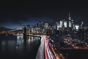 Brooklyn Bridge Cityscape Long Exposure Road Manhattan 8k Wallpaper