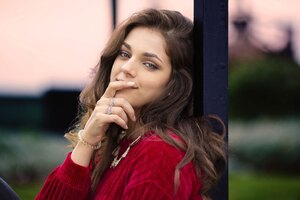 Brown Hair Cute Girl Fingers On Lips 4k