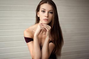 Brown Long Hair Girl Maroon Dress