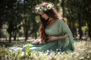 Brunette Depth Of Field Girl Green Dress Wallpaper