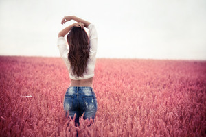 Brunette Girl Arms Up Field