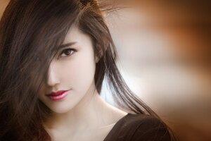 Brunette Girl Close Face
