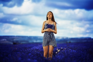 Brunette Girl In Field Of Blue Flowers Wallpaper