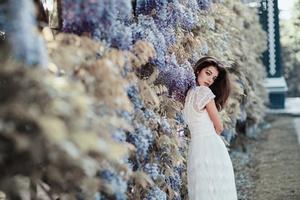 Brunette Girl In White Dress Depth Of Field