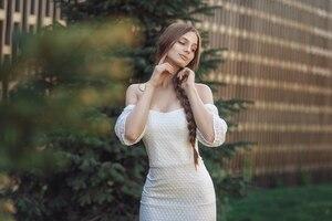 Brunette Girl In White Dress
